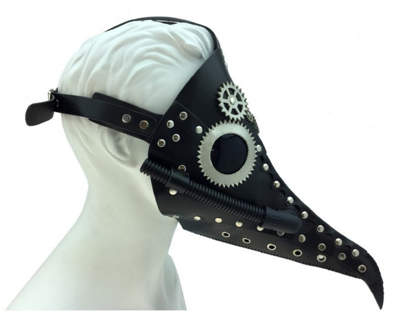 Black Steampunk Mask PU Leather Silver Gears Long Nose Dr. Peste Pipe Plague