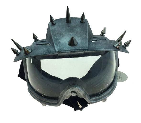 Spiked Steampunk Eye Mask Motorcycle Biker Visor Goggles Adult Mens Silver