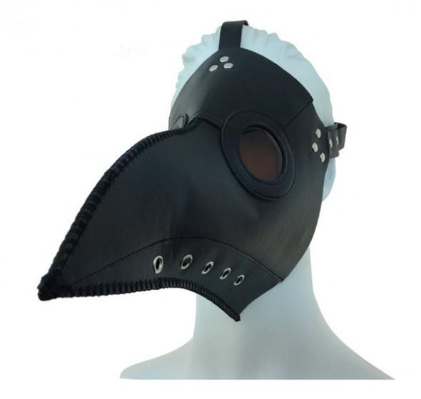 Black Steampunk Mask PU Leather Silver Rivets Strap Di Venezia Plague Curvy Beak