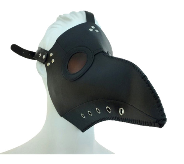 Black Steampunk Mask PU Leather Silver Rivets Strap Dr. Peste Plague Curvy Beak