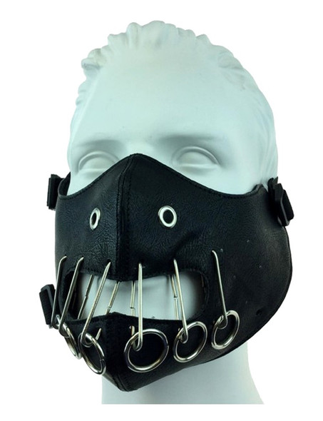 Black PU Leather Silencer Half Mask Biker Motorcycle Adult Mouth Piece Mens