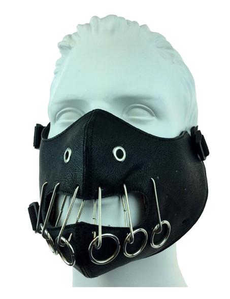Black PU Leather Silencer Half Mask Biker Motorcycle Adult Mouth Piece Mens
