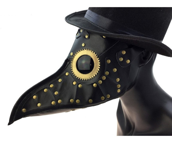 Black Steampunk Mask PU Leather Golden Rivet Dr. Peste Plague Curved Beak Nose