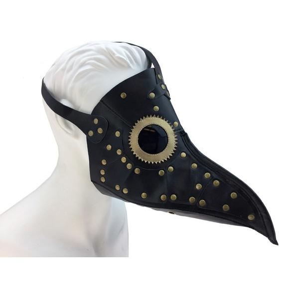 Black Steampunk Mask PU Leather Golden Rivet Dr. Peste Plague Curved Beak Nose