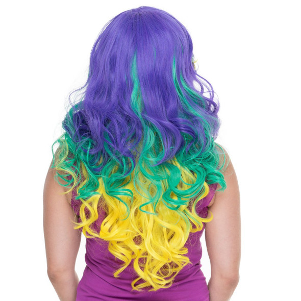 Rockstar Quality Mardi Gras Costume Wig Women Triflect Long Curly Heat Stylable