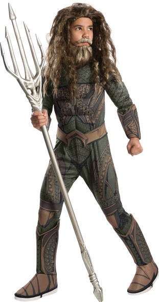 DC Comics Justice League Deluxe Aquaman Child's Kids Muscle Chest Costume SM-LG