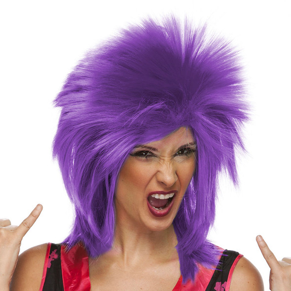 High Quality Spike Wig 80's Neon Purple Glam Rave Pop Star EDC Costume Accessory