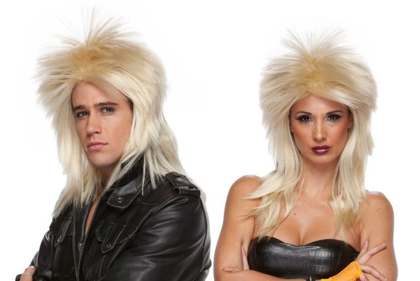 High Quality Heavy Metal 80s Rocker Blonde Spiked Adult Costume Wig Rock Star