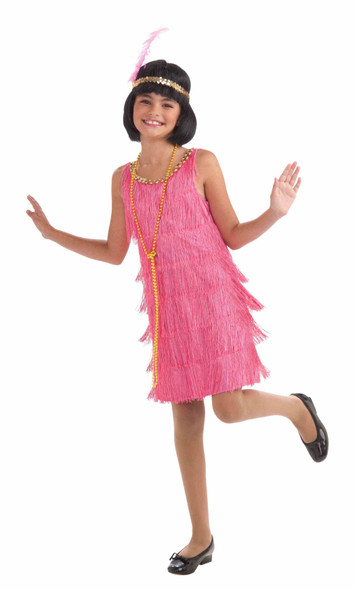 Roaring 20s Pink Flapper Girl Costume Dress Charleston Medium 8-10 Fringe Sequin