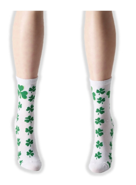 St. Patrick's Day Ankle Socks Adult White with Green Shamrocks Costume Accessory