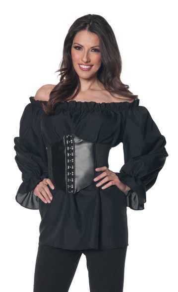 Renaissance Long Sleeve Black Blouse Shirt Gypsy Pirate Peasant Adult Women Top