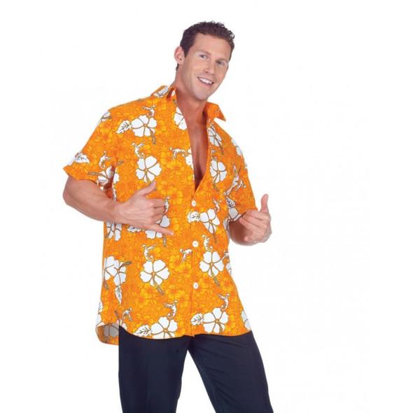 Orange Hawaiian Adult Mens Luau Party Shirt Floral Short Sleeves Costume STD-XXL