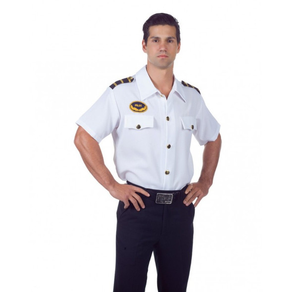 Airplane Pilot Shirt White Adult Men's Uniform Short Sleeve Dress Up STD-XXL