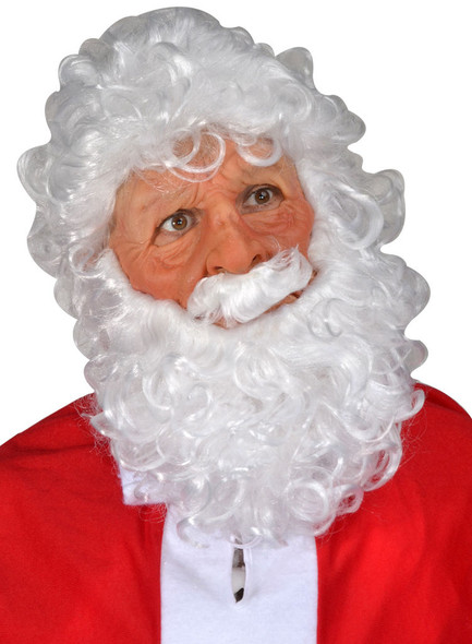 Santa Claus Latex Costume Mask Moving Mouth White Wig Beard Mustache Adult Men