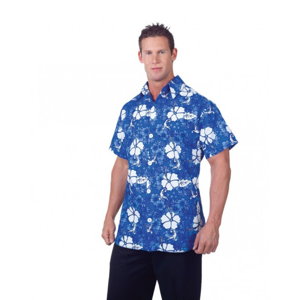 Blue Hawaiian Adult Men's Luau Party Shirt Floral Short Sleeves Costume STD-XXL