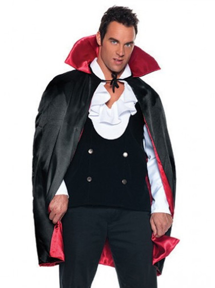 "Short 38"" Deluxe Reversible Satin Cape Black Red Vampire Adult Halloween Costume"