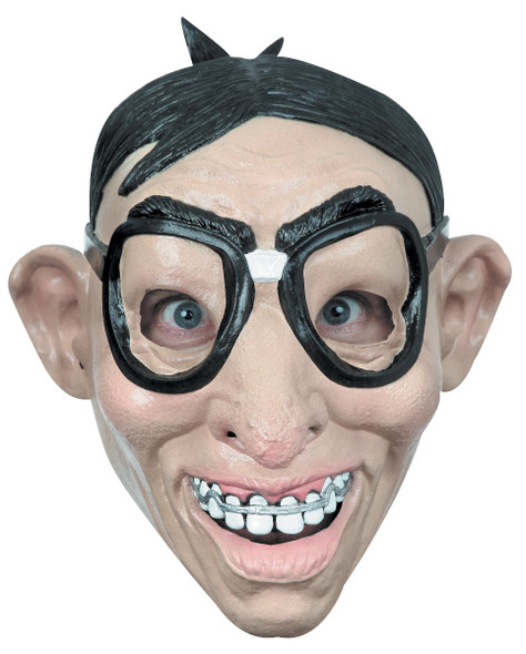 Funny Nerd With Glasses Geek Big Teeth Braces Adult Latex Halloween Full Mask