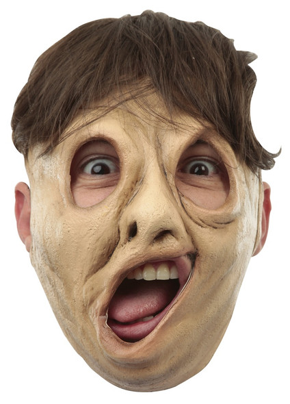 Deformity Twisty Face Open Top Hair Opening Character Adult Latex Mask Halloween