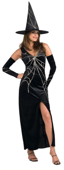 Web Spinner Witch Adult Women's Costume Long Black Dress Sequins Halloween STD