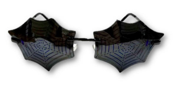 Spider Web Black Mirrored Glasses Adult Halloween Costume Accessory Gothic New