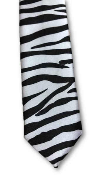 """Black & White Zebra Animal Print Slim 60"""" Neck Tie Costume 80s Retro Pop Rock"""