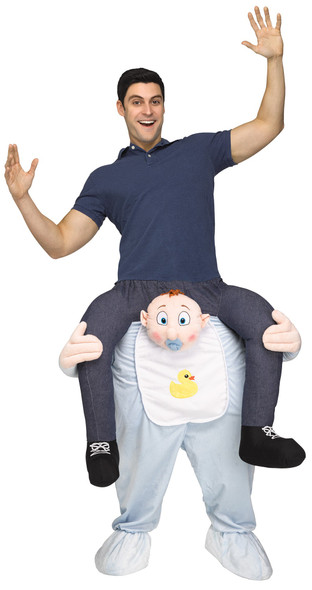 Carry Me on Your Shoulders Baby Boy Costume Piggy Back Ride On Adult Funny