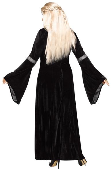Winter Queen Women's Costume Black Ren Faire Fancy Dress Game Of Thrones S/M M/L