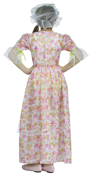 Colonial Lady Girl's Child Costume Pink Floral Dress Little House Prairie SM-LG
