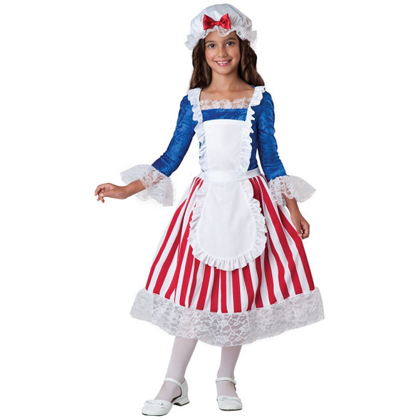 Betsy Ross Girls Child Costume USA Historical Character Dress Sizes SM-LG 6-10