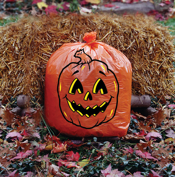 1 Big Orange Pumpkin Leaf Bag 32 Gallon Halloween Lawn Decoration Yard Prop New