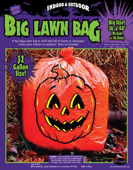 1 Big Orange Pumpkin Leaf Bag 32 Gallon Halloween Lawn Decoration Yard Prop New