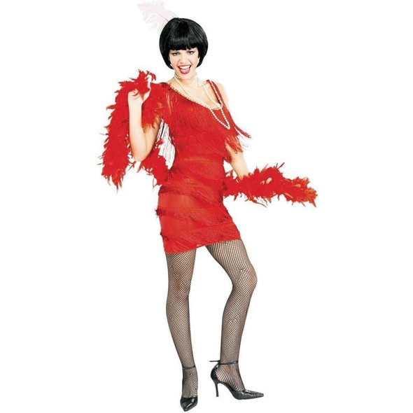 1920s Red Flapper Costume the Great Gatsby Women Large Fringe Fancy Dress