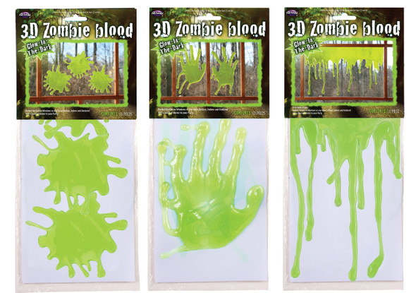 3D Zombie Blood Ooze Window Decor Halloween Party Decoration Hands Splats Drips