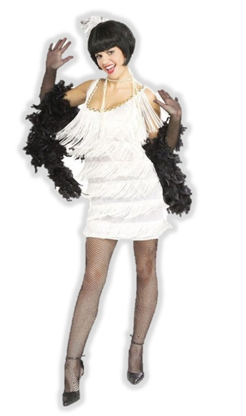1920s White Flapper Costume Womens Fancy Dress Fringe 20s Roaring Twenties Large