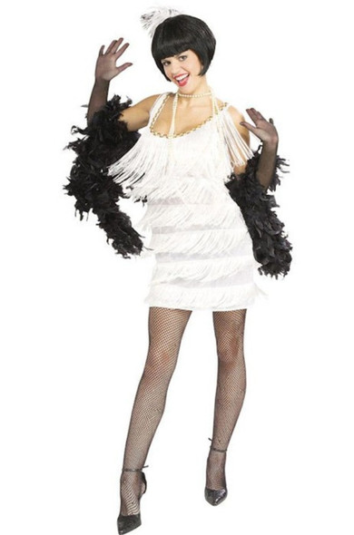 1920s White Flapper Costume Womens Fancy Dress Fringe 20s Roaring Twenties Med