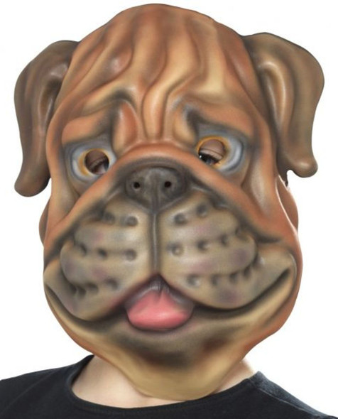Brown Bull Dog Mask Cute Puppy Animal EVA Foam Adult or Child Costume Accessory