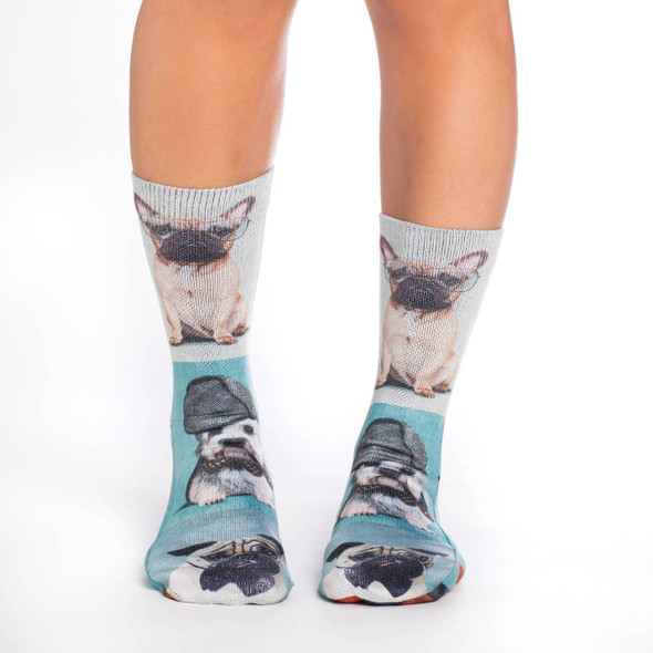 Good Luck Sock  Dashing Dogs Socks Active Fit Adult Women's Shoe Size 5-9 Crew