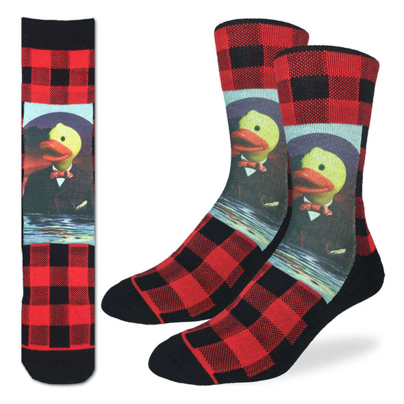 Good Luck Sock Dapper Rubber Duck Crew Socks Adult Shoe Sz 8-13 Plaid Canada Red