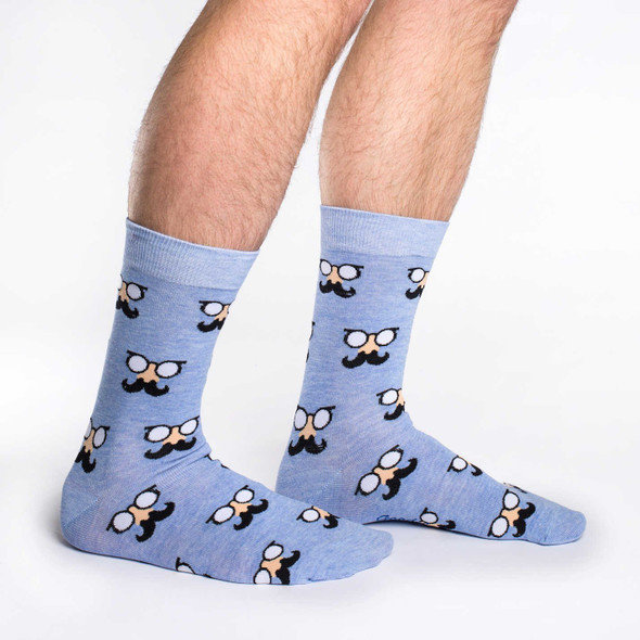 Good Luck Sock Blue Moustache Crew Socks Adult Shoe Size 7-12 Movember