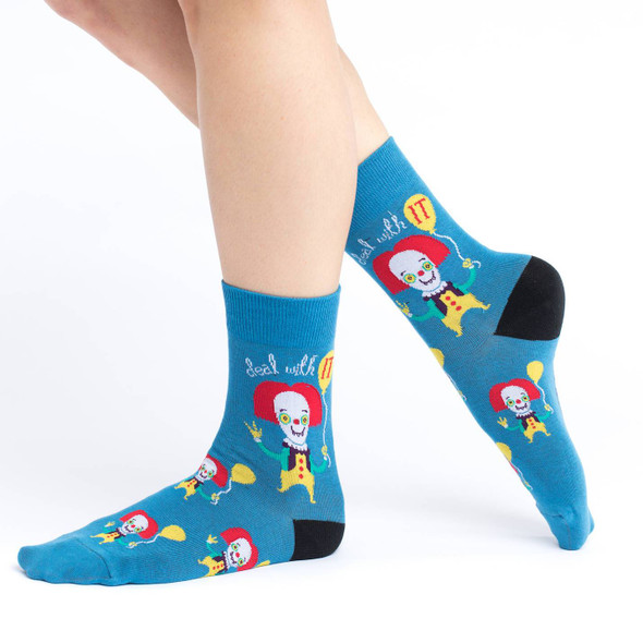 Good Luck Sock Clowning It Crew Socks Adult Shoe Size 5-9 Scary Killer Clown
