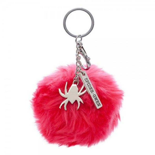 Marvel Spider Gwen Metal Keychain Keyring Bag Charm Clip Pink Faux Fur Pom Pom