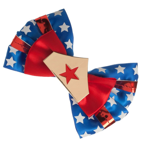 Deluxe DC Comics Wonder Woman Hair Bow Clip Bowtie Stars Crown Red White Blue