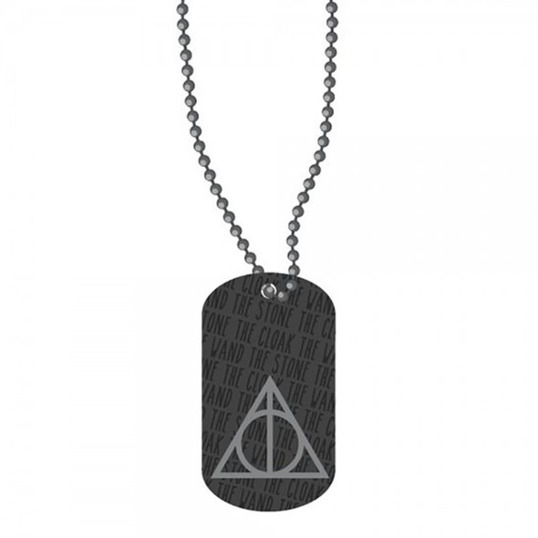 Harry Potter Deathly Hallows Enamel Metal Dog Tag Necklace Costume Jewelry