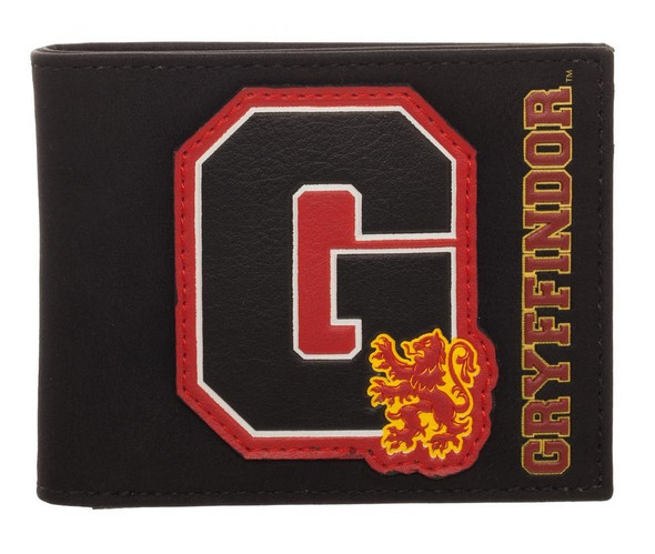 Harry Potter Gryffindor Crest Bi-Fold Wallet Brown Faux Leather Mens Licensed