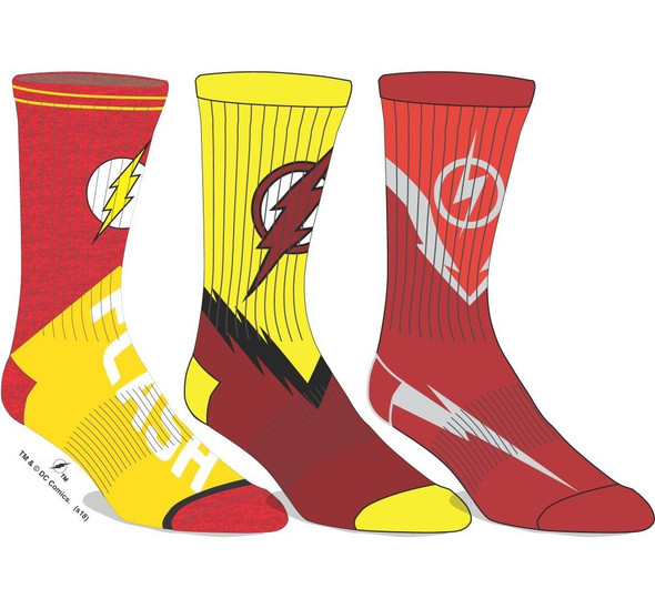 Justice League The Flash Athletic Crew Socks Lightening Bolt Adult Men 3 Pairs