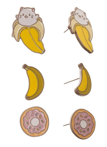 Crunchyroll Bananya Stud Earrings Set Costume Jewelry Cat Banana Anime 3/PK