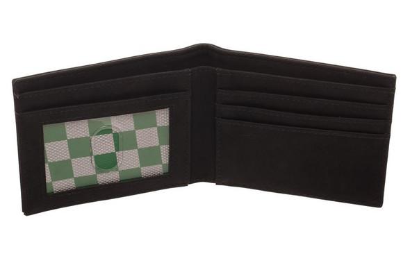 Harry Potter S Slytherin Crest Bi-Fold Wallet Black Faux Leather Mens Licensed