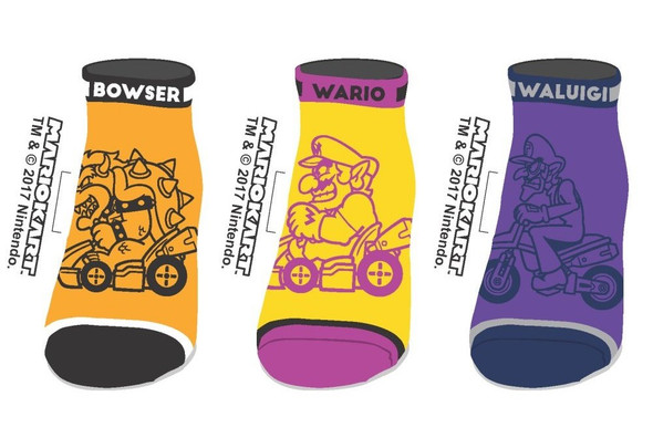 Nintendo Super Mario Kart Ankle Socks Bad Guys Mens Villains Set of 3 Size 9-11