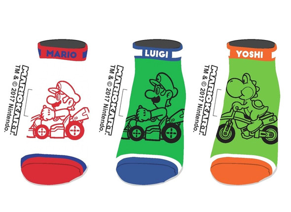 Nintendo Super Mario Kart Ankle Socks Good Guys Mens Set of 3 Size 9-11