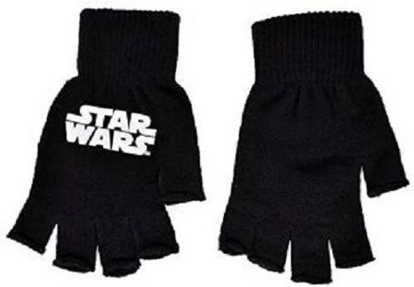 Star Wars Black Fingerless Knit Gloves Licensed Classic Logo Adult One Size